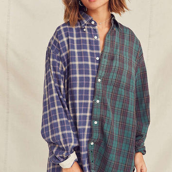 Urban Renewal Recycled Spliced Button-Down Flannel Shirt   Urban Outfitters