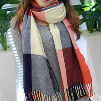 Korea 2014 Winter Scarf Fashion Wool Scarf Women Plaid Thick Scarves Shawl For Women (Color: Blue) = 1958252036