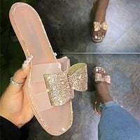 Summer new style women's slippers butterfly rhinestone sandals