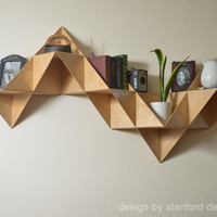Danish Modern Inspired Modular Triangular Birch Wood Wall Mounted Shelf: display keepsakes, collector items, wines & other small items.