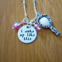 I woke up like this Necklace. Internet meme. Swarovski Crystals. Silver colored. Hand Stamped. I woke up like this meme. For women or girls.