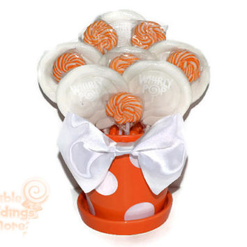 Orange and White Lollipop Arrangement, OOAK Candy Arrangement, Candy Centerpiece,Orange, White, Gift, Candy Buffet, Birthday, ready to ship