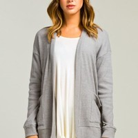 Simple Cardigan with Pocket - Gray