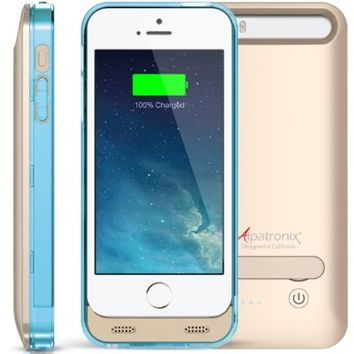 iPhone 5S Battery Case, iPhone SE Battery Case, Alpatronix® [BX120 - MFi Apple Certified] 2400mAh External iPhone 5 Battery Case Removable Rechargeable Protective iPhone 5S Charging Case [Ultra Slim Portable iPhone SE/5S/5 Charging Case / Full Compatible S