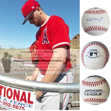 Mike Mayers Autographed Rawlings ROLB1 Baseball, Los Angeles Angels, St Louis Cardinals, Proof Photo