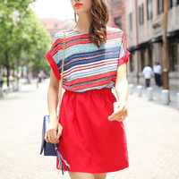 Women Summer Sexy Colorful Stripe Designed Short Sleeve Elastic Waist Patchwork Colors Dress Casual Loose Fit Style = 1667480836