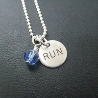RUN RACE MONTH Sterling Silver Run Necklace - Choose 16, 18 or 20 inch Sterling Silver Ball Chain - Choose Race Month or Birthstone Crystal