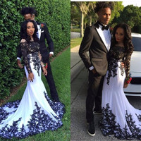 Lace Long Sleeve Prom Dresses 2017 Black And White Applique Nigeria Black Girl Mermaid Arabic Formal Evening Party Gowns Cheap
