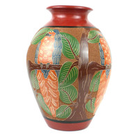 13 inch Tall Vase - Parrot Relief