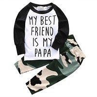 born baby suit children clothing Camouflage Baby Boys Girl Tops T-shirt +Long Pants 2Pcs Outfits Set Clothes Suit