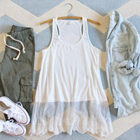 The Lace Hem Layering Tank in White