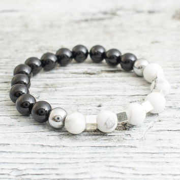 Black onyx and white howlite beaded stretchy bracelet with silver plated hematite cubes and balls, mens bracelet, womens bracelet