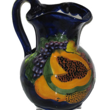 Vintage Mexican Pitcher, Hand Painted Pitcher, Fruit Pitcher, Collectible, Vase, Home Decor