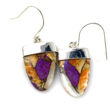 Spiny Oyster Purple Turquoise Sterling Silver Earrings