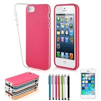 2 Piece TPU Hybrid Rubber Matte Hard Case Cover For Apple iPhone 5 5S +Pen +Film