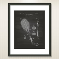 Tennis Racket 1925 Patent Art Illustration - Drawing - Printable INSTANT DOWNLOAD - Get 5 Colors Background