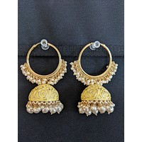 Enamel Jhumka with Large Hoop Earrings - Light Colors