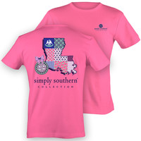 Simply Southern Louisiana Chevron Preppy State Pattern Girlie Bright T Shirt