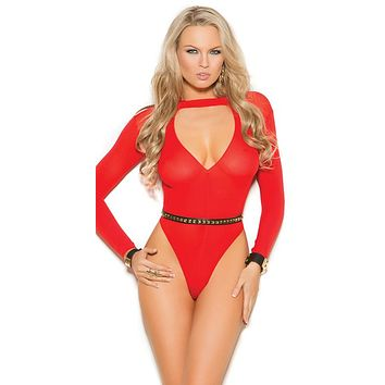 Sexy Flame Red Long Sleeve Deep V Plunge Teddy