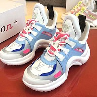 LV casual sports old shoes Daddy shoes avant-garde wavy out sole heel height is about 5.5cm ligh blue