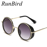 RunBird New 2018 Women Steampunk Goggles Mirror Lens Side Cyber Sunglasses Men Round Sun Glasses Retro Gafas De sol Hombre R012