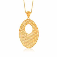 Oval Lattice Long Pendant in 14K Yellow Gold