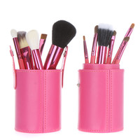 12pcs Rose Cosmetic Brush Kit with Cup Leather Holder Case