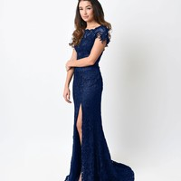 Navy Blue Lace & Satin Cap Sleeve Gown