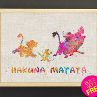BLACK FRIDAY SALE 20% Off Hakuna Matata 3 Watercolor Art Print Disney Lion King Poster Simba Timon Pumbaa Children's Room Art Giclee Wall Ha