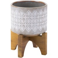 Gray & White Planter with Wooden Base, Small