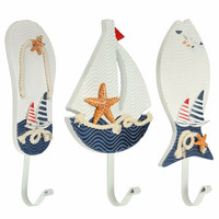 Wooden Nautical Coat Hat Clothes Towel Wall Hooks Hangers Mediterranean Style Hanging Decoration For Home Bathroom