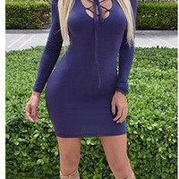 Long Sleeve V-neck Sexy One Piece Dress [6339072769]
