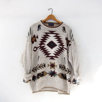 Vintage tribal sweater. Oversized sweater. Boho cotton sweater. Southwestern pullover. Boyfriend sweater.