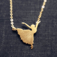 Tiny Gold Necklace,  Dancing Ballerina Necklace,   Dancer Ballet Jewelry,  Bridesmaid Necklace, Bridesmaid Jewelry, Bridesmaid Gift