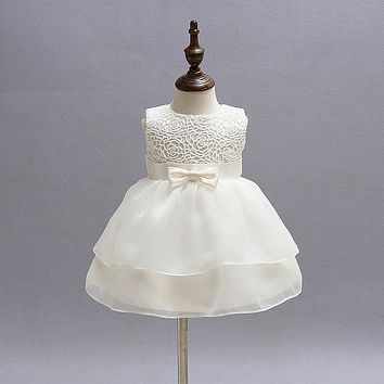 Flower Baby Girl Baptism Dress For Wedding 1 Year Birthday Infant Party