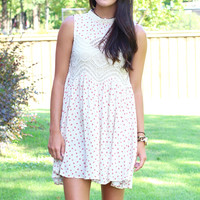 Easy Talk Lace Inset Dress {Cream Mix}