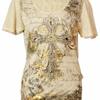 Miss Me Women's Tulip Lace Back Embellished Top