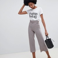 Miss Selfridge wide leg culottes with belt detail in check at asos.com