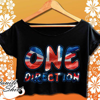 one direction crop top one direction shirt black and white women shirt