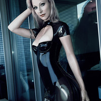 Sexy woman tight latex catsuit with breast open design