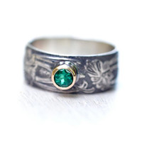 Emerald Ring - Chatham Emerald - Art Nouveau - 14kt Gold - Sterling