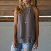 Descanso Beach Grey Sleeveless Layered Hem Top