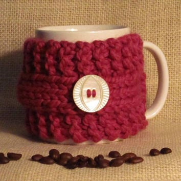 Red Coffee Cozy, Washable Wool, Vintage Mother-of-Pearl Button, Handmade