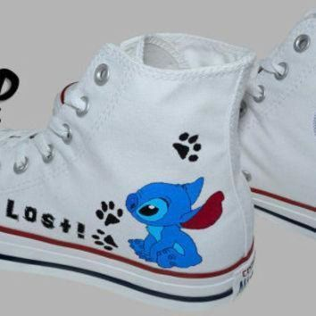 CREYONV hand painted converse hi stitch from lilo and stitch cartoon i m lost handpainted