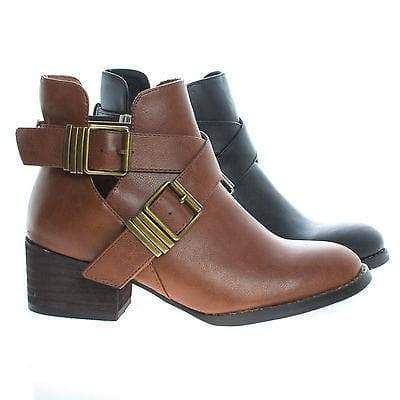 Image of Bronco11 By Breckelles, Cut Out Criss Cross Buckle Faux Wooden Heel Ankle Boots
