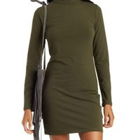Olive Mock Neck Bodycon Dress by Charlotte Russe