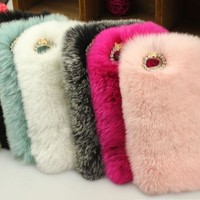 Real rex rabbit fur case for iphone 7 7Plus 5c luxuxy new covers mobile phone bags & cases plush cell phone cases for iphone5c