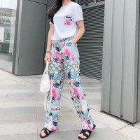 """Gucci"" Women Temperament Casual Fashion Flower Letter GG Print Short Sleeve T-shirt Leisure Pants Trousers Set Two-Piece"
