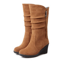 2016 Big size 34-43 high quality women shoes new arrivals mid calf wedges boots Add Fur Autumn Winter woman boots
