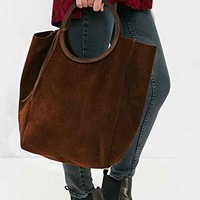 Jo Suede Circle Tote Bag- Chocolate One